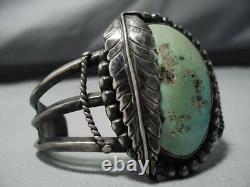 Exceptional Vintage Navajo Green Turquoise Sterling Silver Bracelet Old