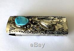 Exquisite Blue Turquoise Vintage Navajo Floral Lighter Case Sterling Silver