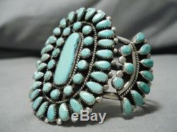 Exquisite Vintage Navajo 50 Turquoise Stone Sterling Silver Bracelet Cuff