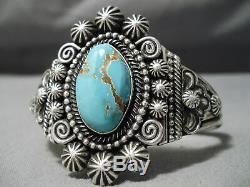 Exquisite Vintage Navajo #8 Turquoise Sterling Silver Bracelet