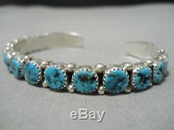 Exquisite Vintage Navajo Sterling Silver Turquoise Bracelet