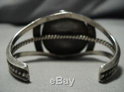 Exquisite Vintage Navajo Turquoise Sterling Silver Native American Bracelet Old