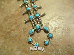 FINE Vintage Navajo Sterling Silver KINGMAN Turquoise SQUASH BLOSSOM Necklace