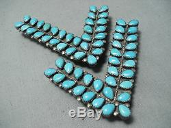 Fabulous Vintage Navajo Sleeping Beauty Turquoise Sterling Silver Collar Pins