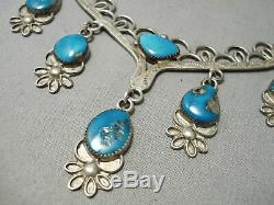 Fabulous Vintage Navajo Turquoise Dangling Sterling Silver Necklace Old