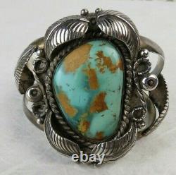 Fine natural turquoise blues browns Navajo sterling silver VTG CUFF BRACELET