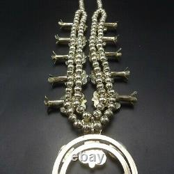 GORGEOUS Vintage NAVAJO Sterling Silver BISBEE Turquoise SQUASH BLOSSOM Necklace