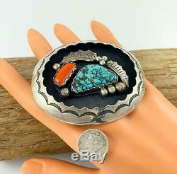 GORGEOUS! Vintage Navajo INDIAN MOUNTAIN Spiderweb Turquoise & CORAL Belt Buckle
