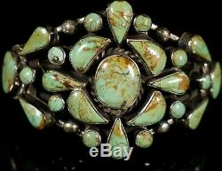 GREEN TURQUOISE CLUSTER Vintage Navajo Handmade STERLING Silver CUFF Bracelet