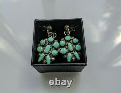 Gorgeous Vintage Navajo Earrings Sterling Silver and Large Turquoise Cluster