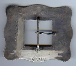 Great Large Vintage Navajo Indian Silver Turquoise Belt Buckle