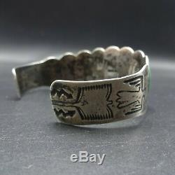 HARVEY ERA Vintage NAVAJO Hand-Stamped Sterling Silver TURQUOISE Cuff BRACELET