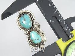 HEAVY VINTAGE OLD PAWN NAVAJO DOUBLE TURQUOISE STERLING RING sz 6.5 / 13.3g