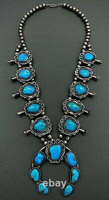 HUGE Authentic Vintage Navajo Sterling Silver Turquoise Squash Blossom Necklace