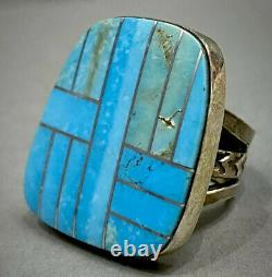 HUGE Large Vintage Navajo Native American Sterling Silver Turquoise Inlay Ring