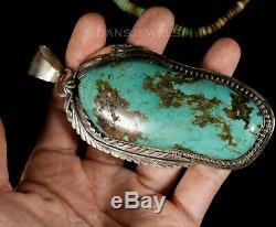 HUGE Old Pawn Natural Old TURQUOISE Vintage 4 Navajo Sterling Silver Pendant