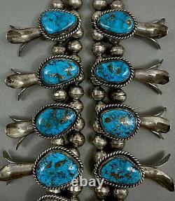 HUGE Vintage Navajo Sterling Gem Morenci Turquoise Squash Blossom Necklace 254Gr