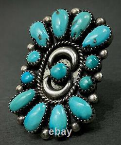 HUGE Vintage Navajo Sterling Silver Turquoise Cluster Ring