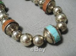 Hand Tooled Sterling Silver Vintage Navajo Turquoise Coral Necklace