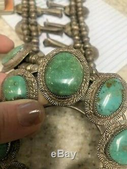Heavy 194g Vintage Signed Sterling Royston Turquoise Squash Blossom Necklace