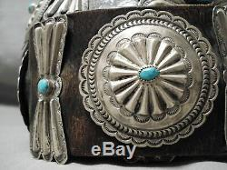Heavy Authentic Vintage Navajo Turquoise Sterling Silver Concho Belt Old