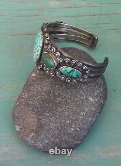 Heavy Old Pawn Vintage Sterling Silver Blue Green Turquoise Row Cuff Bracelet