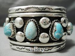 Heavy Thick Sturdy Vintage Navajo Men's Turquoise Sterling Silver Bracelet Old