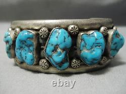 Heavy Thick Sturdy Vintage Navajo Spiderweb Turquoise Sterling Silver Bracelet