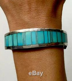 Heavy Thick Vintage Navajo Sterling Silver Turquoise Inlay Cuff Bracelet