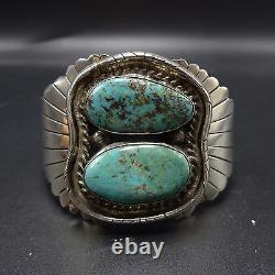 Heavy Vintage NAVAJO Sterling Silver & TURQUOISE Cuff BRACELET 81.4g