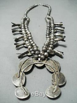 Heavy Vintage Navajo Green Turquoise Sterling Silver Squash Blossom Necklace