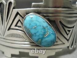 High Grade Vintage Navajo Carico Lake Turquoise Sterling Silver Bracelet