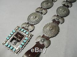 Highly Rare Vintage Navajo Gary Reeves Turquoise Sterling Silver Concho Belt Old