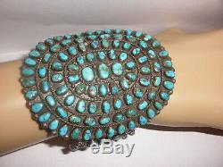 Huge Old Pawn Vintage Navajo Zuni sterling silver petit point bracelet turquoise