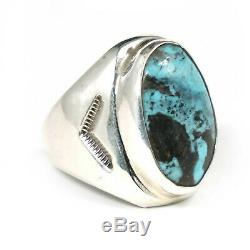 Huge Turquoise Mens Ring Vintage Style Silver Native American Navajo Large
