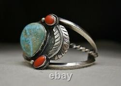 Huge Vintage Native American Navajo Coral Turquoise Sterling Silver Bracelet