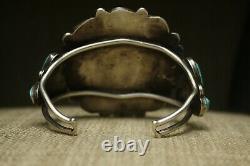 Huge Vintage Native American Navajo Turquoise Sterling Silver Cluster Bracelet