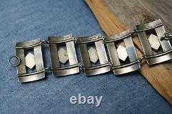 Huge Vintage Native American Navajo Turquoise Sterling Silver Link Bracelet