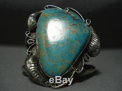 Huge Vintage Navajo #8 Turquoise Sterling Silver Bracelet Old