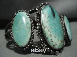 Huge Vintage Navajo Cerrillos Turquoise Silver Bracelet