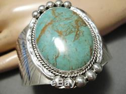 Huge Vintage Navajo Royston Turquoise Big Flank Sterling Silver Bracelet