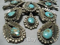 Huge Vintage Navajo Royston Turquoise Sterling Silver Squash Blossom Necklace