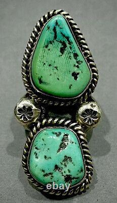 Huge Vintage Navajo Sterling Silver Green Turquoise Ring 14 Grams