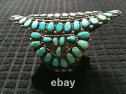 Huge Vintage Navajo Sunburst Cluster Turquoise Bracelet, Sterling 3 ¾ Long