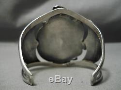 Huge Vintage Navajo Turquoise Coral Sterling Silver Bracelet Old