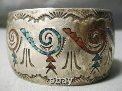 Huge Vintage Navajo Turquoise Coral Sterling Silver Wave Inlay Bracelet Old