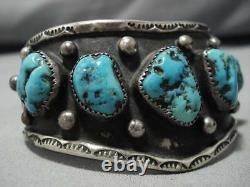 Huge Vintage Navajo Turquoise Wave Sterling Silver Native American Cuff Bracelet