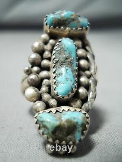 Immense Vintage Navajo Old Kingman Turquoise Sterling Silver Ring Old