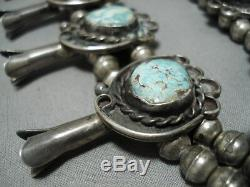Important #8 Turquoise Vintage Navajo Sterling Silver Squash Blossom Necklace