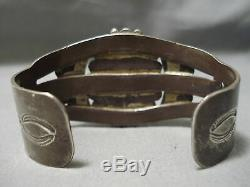 Important Early Vintage Navajo Lone Mountain Turquoise Sterling Silver Bracelet